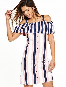 warehouse-stripe-ruffle-dress