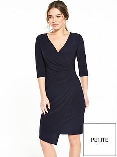wallis-petite-mock-wrap-dress