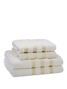 catherine-lansfield-4-piece-sparkle-band-towel-bale-cream-buy-1-get-1-free