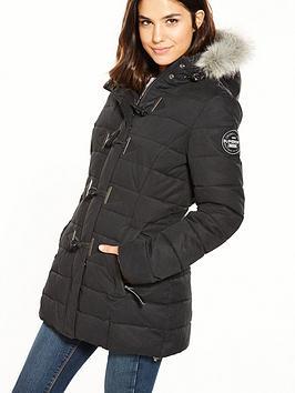 Superdry MF Toggle Puffle Jacket - Black | very.co.uk