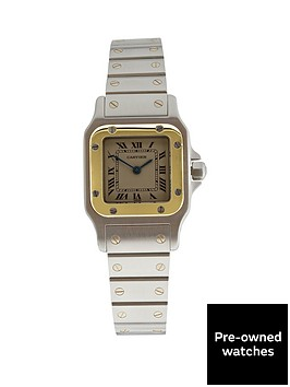 cartier-pre-owned-santos-off-white-dial-two-tone-stainless-steel-ladies-watch-ref-1057930