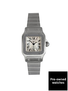 cartier-cartier-preowned-santos-automatic-silver-dial-dial-stainless-steel-ladies-watch-ref2423