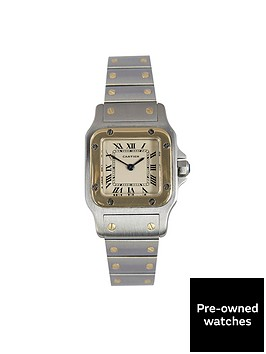 cartier-cartier-preowned-santos-off-white-dial-bimetal-ladies-watch-ref-1567