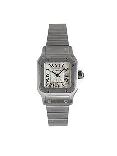 cartier-pre-owned-santos-automatic-silver-dial-stainless-steel-ladies-watch-ref-2423