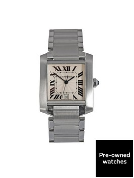 cartier-pre-owned-tank-francaise-automatic-white-dial-stainless-steel-mens-watch-ref-2302