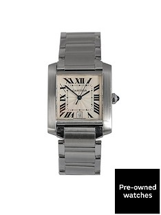 cartier-pre-owned-francaise-off-white-dial-stainless-steel-mens-watch-ref-2302