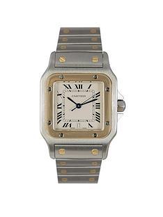cartier-cartier-preowned-santos-off-white-dial-bimetal-mens-watch-ref-1566
