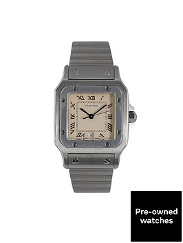 cartier-cartier-preowned-santos-cream-dial-stainless-steel-mens-watch-ref-1564