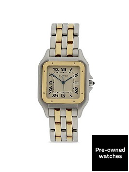 cartier-pre-owned-jumbo-panthere-off-white-dial-bimetal-mens-watch-ref-187957
