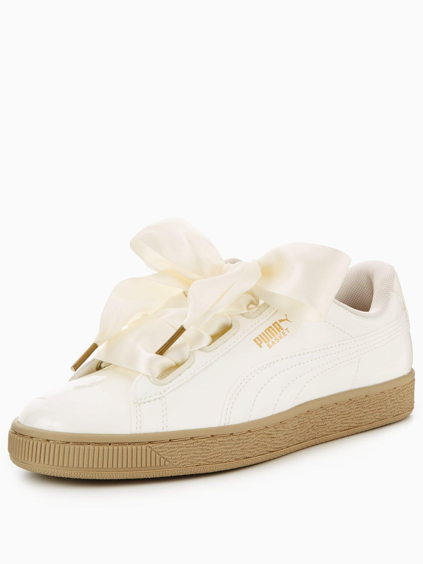 Puma Basket Heart Patent White 1600167528 Women's Shoes Puma Trainers