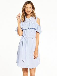 vero-moda-flounce-cold-shoulder-dress