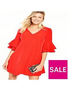 v-by-very-v-front-ruffle-sleeve-tunic-dress