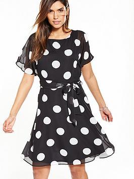 wallis-spot-cold-shoulder-fit-and-flare-dress