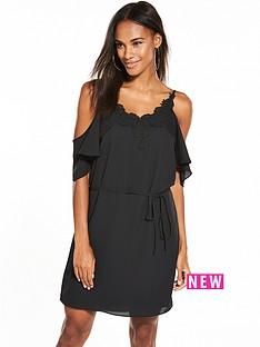oasis-lace-trim-cold-shoulder-dress-black