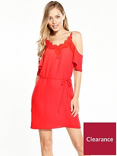oasis-lace-trim-cold-shoulder-cami-dress