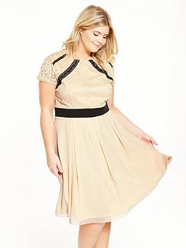Little Mistress Curve Lace Fit And Flare Dress - Cream