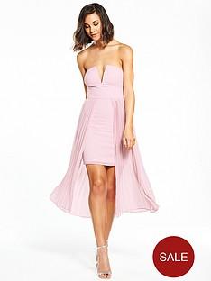 rare-rare-bardot-mini-dress-with-pleated-skirt