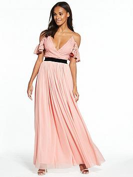 Rare Lace Cold Shoulder Maxi Dress
