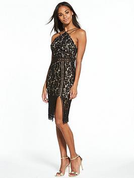 Rare Lace Apron Neck Side Split Midi Dress