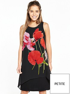 wallis-petite-v-back-poppy-print-dress