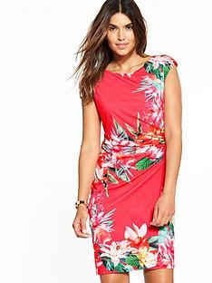 wallis-neon-tropical-wrap-dress