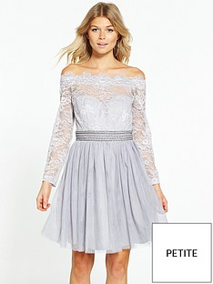 little-mistress-petite-off-shoulder-mini-dress