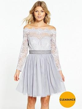 little-mistress-petite-off-shoulder-mini-dress