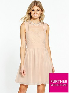 little-mistress-petite-choker-neck-midi-dress