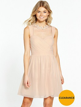 little-mistress-petite-choker-neck-midi-dress