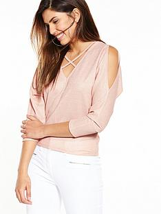 v-by-very-cross-front-metallic-top
