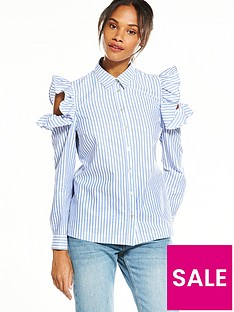 v-by-very-stripe-cold-shoulder-ruffle-shirt
