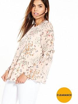 v-by-very-tie-sleeve-printed-blouse