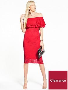 0754eb4416ab6 V by Very Lace Bardot Frill Dress