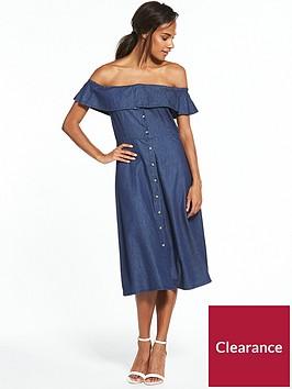 warehouse-bardot-ruffle-dress