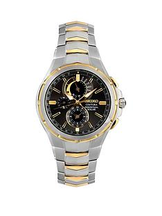 seiko-seiko-gents-black-dial-two-tone-perpetual-solar-chronograph-stainless-steel-bracelet-watch