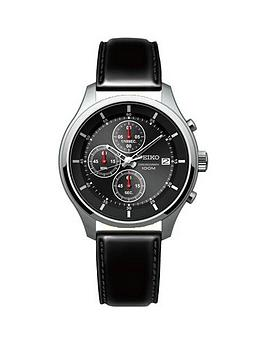 seiko-seiko-gents-black-dial-stainless-steel-chronograph-leather-strap-watch