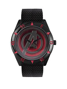 the-avengers-avengers-black-mesh-strap-red-avengers-logo-dial-mens-watch
