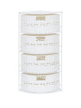 white-paper-crochet-4-drawer-corner-storage-unit