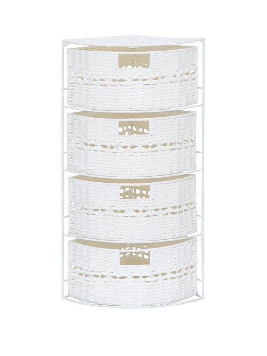 Ordinaire White Paper Crochet 4 Drawer Corner Storage Unit | Very.co.uk
