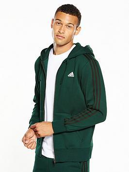 adidas-essentials-3-stripes-full-zip-hoodie-greennbsp