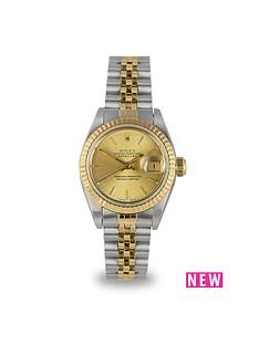rolex-rolex-preowned-datejust-champagne-baton-dial-bimetal-ladies-watch-ref-69173