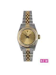 rolex-rolex-preowned-oyster-perpetual-champagne-dial-bimetal-ladies-watch-ref-67193