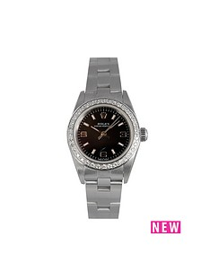 rolex-rolex-preowned-non-date-oyster-perpetual-black-dial-aftermarket-bezel-ladies-watch-ref-76080