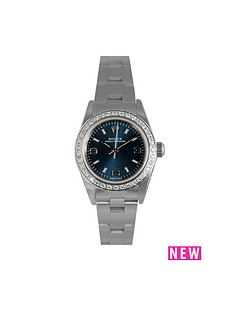 rolex-rolex-preowned-non-date-oyster-perpetual-blue-dial-aftermarket-bezel-ladies-watch-ref-76080