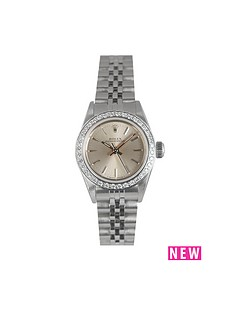 rolex-rolex-preowned-none-date-oyster-perpetual-silver-dial-aftermarket-diamond-bezel-ladies-watch-ref-697194