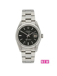 rolex-rolex-preowned-perpetual-date-black-dial-ladies-watch-ref-1500