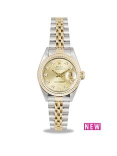 rolex-rolex-preowned-datejust-original-champagne-diamond-dial-bimetal-ladies-watch-ref-69173