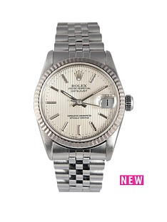 rolex-rolex-preowned-datejust-silver-tone-pinstripe-dial-midsize-watch-ref-68274