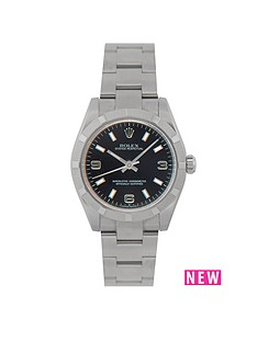 rolex-rolex-preowned-oyster-perpetual-black-dial-midsize-watch-ref-177210