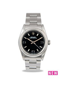 rolex-rolex-preowned-oyster-perpetual-black-dial-midsize-watch-ref-64780